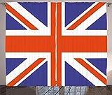 Ambesonne Union Jack Curtains, Classic Traditional Flag United Kingdom Modern British Loyalty, Living Room Bedroom Window Drapes 2 Panel Set, 108' X 84', Blue Red
