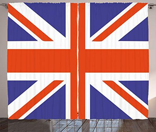 "Ambesonne Union Jack Curtains, Classic Traditional Flag United Kingdom Modern British Loyalty, Living Room Bedroom Window Drapes 2 Panel Set, 108"" X 96"", Blue Red"