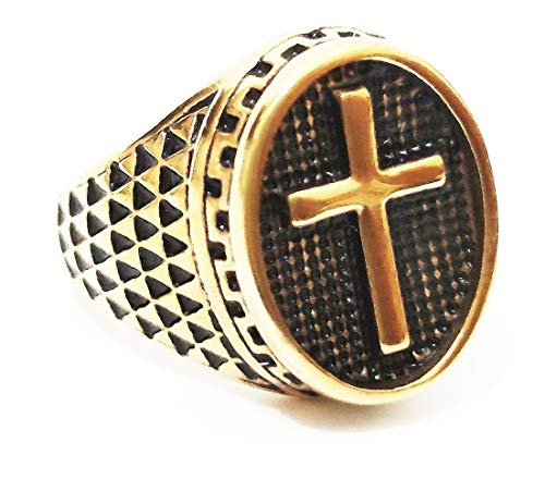 Anel Aço Inox Masculino Cruz Padre Bíblia Pastor Jesus God (dourado, 28)