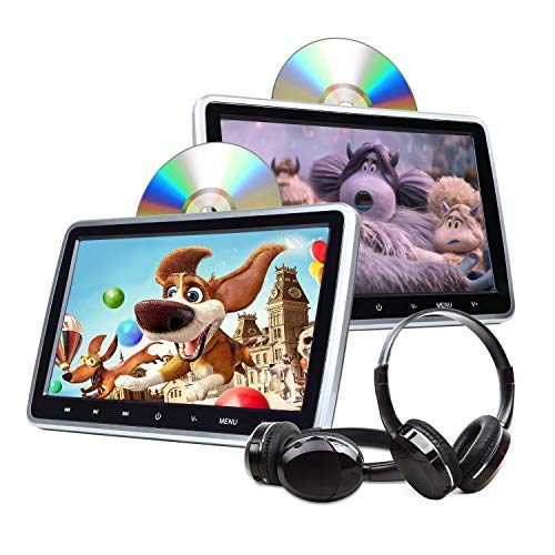 2020 Headrest DVD Player Car DVD Player 10.1'' Dual Car DVD Players with 2 Headphones Eonon C1100A for Kids Support Same/Different Video Playing/AV Out & in HDMI USB SD Port Touch Button