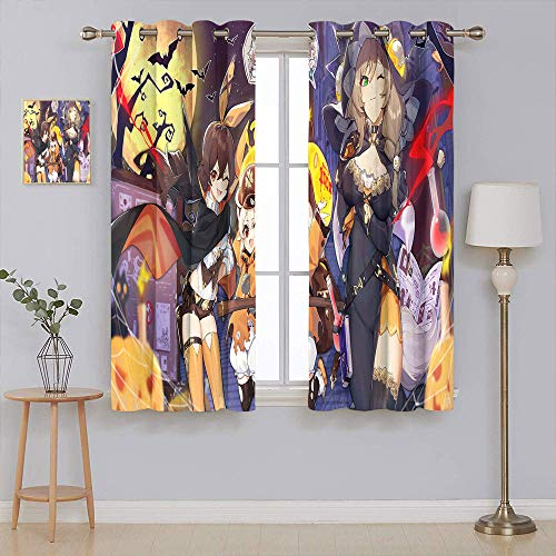 Curtains for Living Room genshin impact halloween costume anime girls Blackout curtain liner Sunlight Filtering Nature Air Through 42x45 Inch
