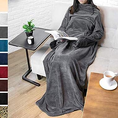 PAVILIA Premium Fleece Blanket with Sleeves for Adult, Women, Men | Warm, Cozy, Extra Soft, Microplush, Functional, Lightweight Wearable Throw (Charcoal, Kangaroo Pocket)