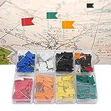 Map Pins - Delaman 160pcs Map Flag Push Pins Tacks, Surtido de 7 Colores, Dibujo Suministros de Papelería