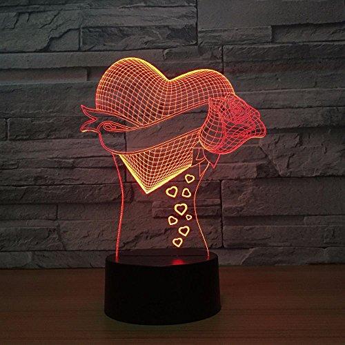 Nndxh Cadeau Unique De Maman Amour Romantique Rose Fleur 3D Led Night Light 7 Changement De Couleur Nouveauté Table Light Décoration De La Maison Chevet Led Light, Novel Gift
