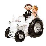 Divertida Figura de Resina para Tarta de Bodas'Novios en Tractor'. Recuerdos. Decoración. Regalos Originales. Detalles de Bodas, Comuniones, Bautizos, Cumpleaños.CC