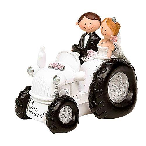 """Divertida Figura de Resina para Tarta de Bodas""""Novios en Tractor"""". Recuerdos. Decoración. Regalos Originales. Detalles de Bodas, Comuniones, Bautizos, Cumpleaños.CC"""