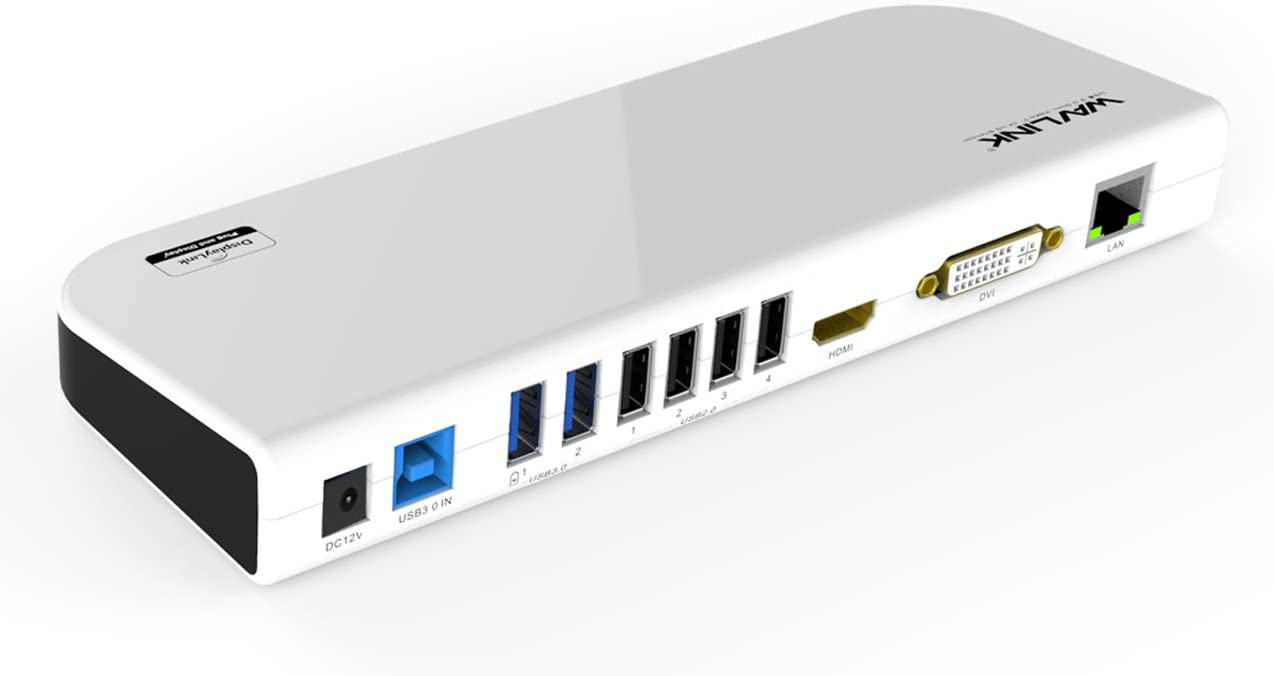 WAVLINK USB 3.0 Universal Laptop Docking Station Dual Video Outputs Support HDMI/DVI/VGA (6 USB Ports,Gigabit Ethernet,Audio): Electronics