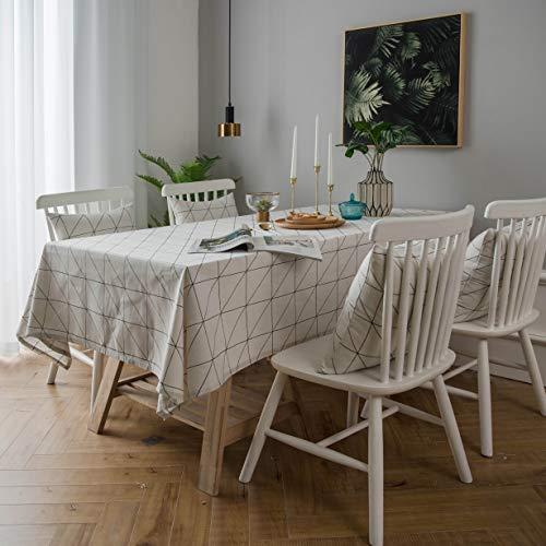 Decouverte Rectangular Tablecloth White Cotton Linen Tablecover Dining Checkered Table Cover Top,55''x98''