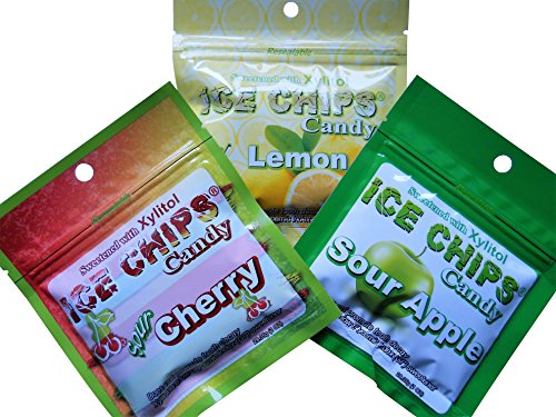 Ice Chips Xylitol Candy in Resealable Pouches (1 oz) 3 Pk Assortment: Sour Apple, Sour Cherry & Lemon
