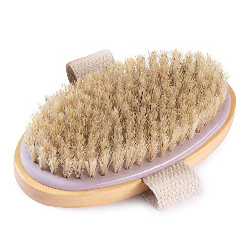 MainBasics Oval Dry Brushing Body Brush – Exfoliating Body Scrub Brush with Boar Bristles Stimulates Lymphatic Drainage and Removes Dead Cells for Glowing Skin, 5 x 2.5 in.