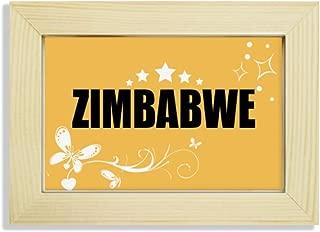 Zimbabwe Country Name Desktop Wooden Flower Photo Frame Painting
