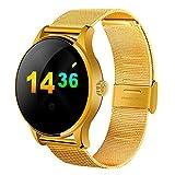 Bluetooth Smartwatch Fitness Control De Actividad Inteligente del Reloj, Los Hombres Y Las Mujeres K88H Brazalete De Corazón Monitor De Ritmo Recordatorio Sedentaria Caloría,Oro,Steelstrip