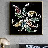 Peces dorados abstractos Imágenes de lujo Pinturas sobre lienzo Arte de la pared Carteles e impresiones Sala de estar Dormitorio Decoración para el hogar 31.4 'x31.4' (80x80cm) Sin marco