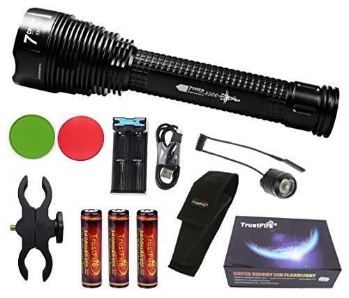Linterna Trustfire J18 7 Led CREE XML-T6-3400 mAh Trustfire 18650-8500lm / 1 Modo / 3 baterías. Aguardos, vigilancia, caza, linterna de gran alcance (C - Linterna Kit completo)