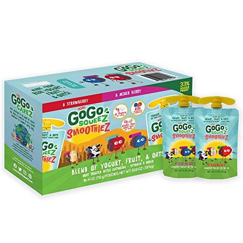 GoGo squeeZ smoothieZ, Strawberry & Mixed Berry Variety Pack, 4 oz. (16 Pouches) - Gluten Free Yogurt, Fruit, & Oat - Individual Snacks for Kids - No Preservatives - Convenient, Reclosable & BPA Free