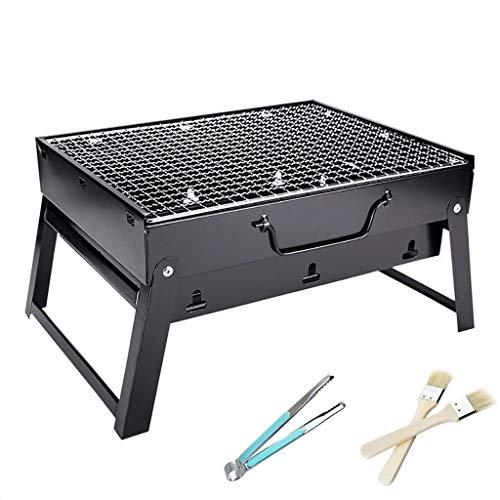 Parrilla portátil de carbón de leña, de acero inoxidable, mini barbacoa parrilla de carbón kits de herramientas para cocinar al aire libre, camping, picnics playa