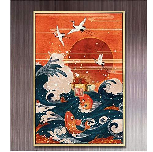 Jwqing Leinwand malerei Neue Chinesische Kraniche Fliegen Springen Fische Bild Gemälde Wandkunst Poster Und Drucke Wandbilder Wohnkultur (60x80 cm kein gestaltet)