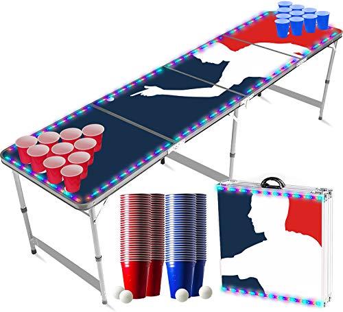 Offizieller Player Flash Beer Pong Tisch Set   LED-Beleuchtung   Inkl. 1 leuchtender Beer Pong Tisch + 120 53cl Becher (60 Rot & 60 Blau) + 6 Ping-Pong-Bälle   Trinkspiele   OriginalCup®