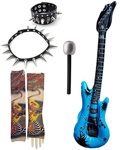 Accesorios de Disfraces Rock 70s 80s 90s Hombre, Brazo Falso Tatuaje Manga Cubierta Color al Azar, Guitarra Hinchable con Esqueleto, Gargantilla y Pulsera con Tachuelas de Cuero, Micrófono Falso