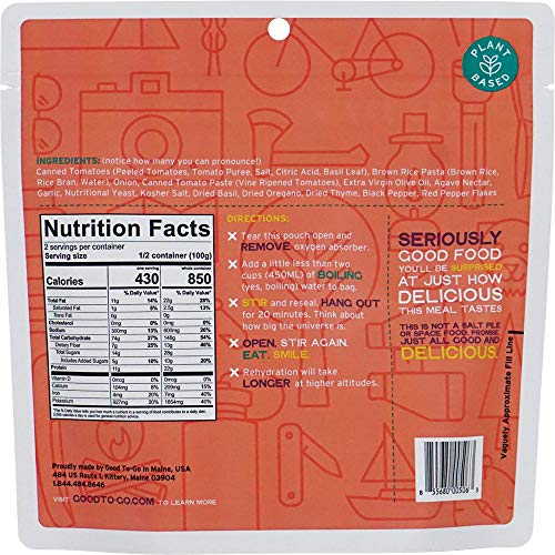 GOOD TO-GO Classic Marinara with Pasta - Double Serving   Dehydrated Backpacking and Camping Food   Lightweight   Easy to Prepare