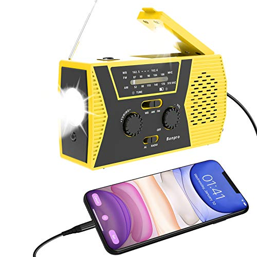 Emergency Radio 2021 New Version Bonpro Weather Radio with Solar and Crank Charger with Flashlight, Reading Lamp and 2000mAh Power Bank NOAA Weather Radio
