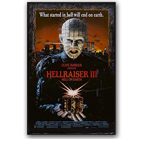 KONGQTE Hellraiser 3 Classic Horror Movie Poster Wall Art Print Painting Decorative Painting Wallpaper Bedroom Decor-20X28 Inches Without Border