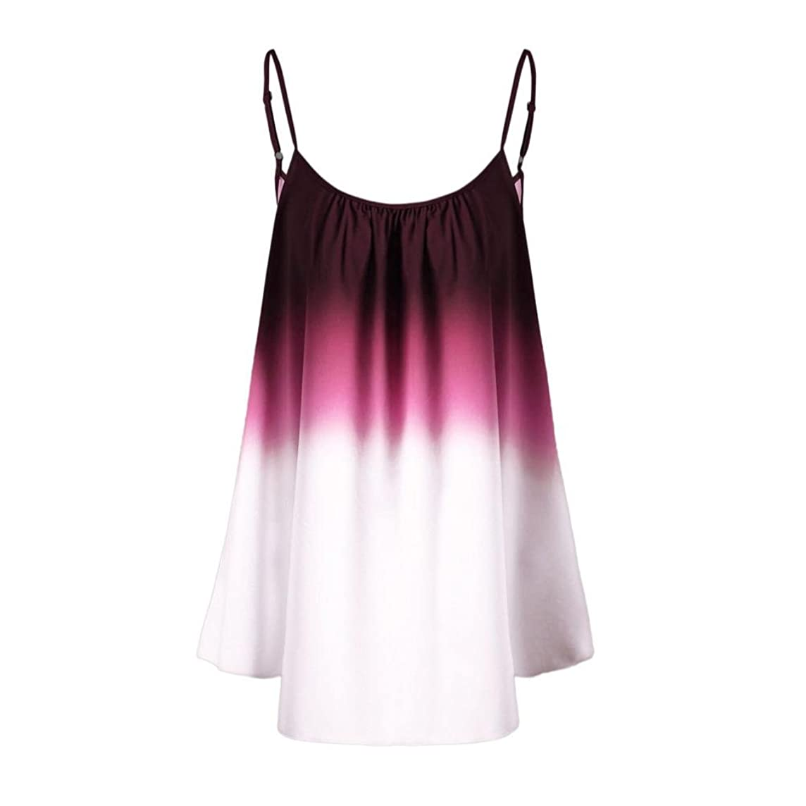 Wintialy Women's Casual Gradient Sleeveveless Ombre Cami Top Trim Tank Top Blouse