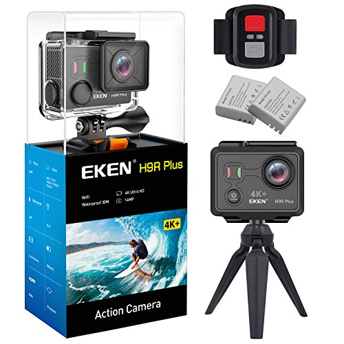 EKEN H9R Plus Ultra HD Action Camera 4K 14MP 100ft Underwater Waterproof Cam Remote Sports Camcorder Panasonic Sensor 170 Angle Lens with 2 Batteries Accessories Kit and Tripod