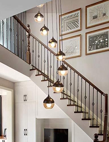 KAISIMYS Treppenhausleuchter Langer Kronleuchter Moderner minimalistischer nordischer Drehtreppenlampenglas-Kronleuchter Treppenhaus (Größe: 3,5 m)