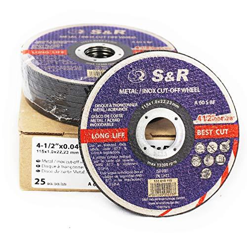 S&R 25 Discos de corte 115 Hierro Metal y Acero INOX .Set de 25 discos 125x 1 mm A60 S-BF para amoladora ángular