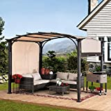 Sunjoy Lindt 9.5 x 11 ft. Steel Arched Pergola with 2-Tone Adjustable Shade, Tan & Brown