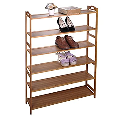 Cinlv 6 Tiers Shoe Rack 30 Pairs Bamboo Shoe Tower Storage Organizer Cabinet Length 35.04