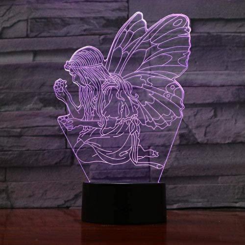 YOUPING Luces de noche de hadas luces de mariposa decoración de mesita de noche 7 colores cambiantes RGB niño niño niños bebé regalos de cumpleaños usb 3d led luz de noche