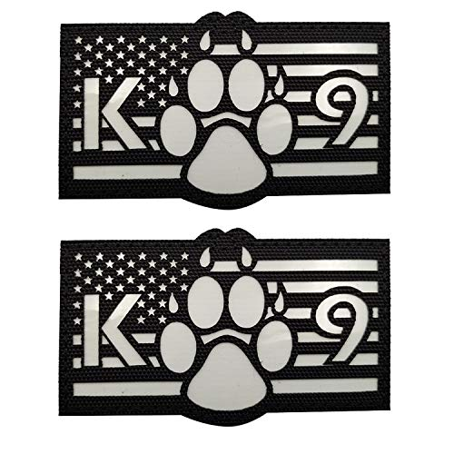USA American Flag K-9 Dog Handler Tactical Military Morale Glow in Dark Patch for Police Sheepdog's Harness, Vest, Collar, Clothes - Fastener Hook and Loop Backing - 3.54 x 2.17Inch - 2 Pieces