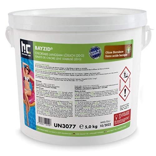 Höfer Chemie Pool Chlor Tabletten 20g 1 x 5 kg BAYZID dauerhaften Chlorung von Pool und Schwimmbad - HOCHWIRKSAM und EFFEKTIV gegen Bakterien und Pilze