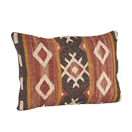 Saro LifeStyle 570.M1623B Kilim Design Down Filled Throw Pillow, Multi, 16'x23',Orange