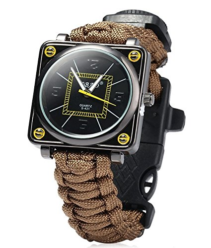 ZENDY Paracord Corde carré Montres Bracelet avec grattoir Firestarter Inoxydable et Un sifflet et Une Boussole Multifonctions Outils de Survie en Plein air (Marron)