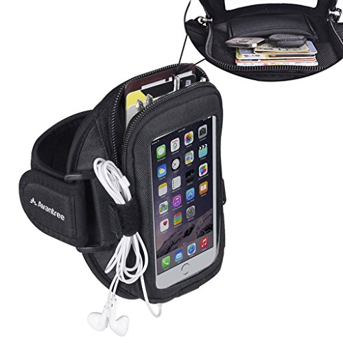 Avantree iPhone 8 / 7 / 6 / 6S Sports Running Armband with Key Holder / Card Pouch, Fits for 4.7 inches Samsung Galaxy Huawei or below Mobile Phones - Ninja
