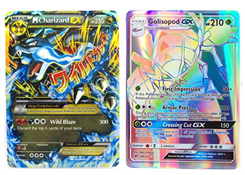 "New Mega Cards Charizard Mega EX 108/106 with Golisopod GX 148/147 Flash Light Card Standard Size 2.5"" x 3.5"" English with Box and Sleeve Free 1 EX Card"