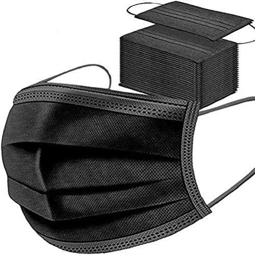 50 Stück schwarze Einweg-Gesichtsmasken, atmungsaktiv, Staubmaske, dehnbare elastische Ohrschlaufen.