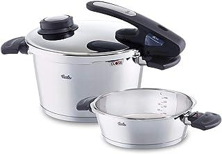 Fissler vitavit edition design / Juego de ollas a presión (4,5 + 2,5 litros, Ø 22 cm) de acero inoxidable, 2 niveles de cocción, apta para cocinas de inducción, gas, vitrocerámica y eléctricas