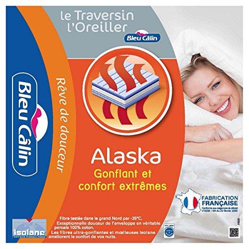 Bleu Câlin Lot de 2 Oreillers Rectangulaires, Confort 'Alaska', Blanc, 50x70 cm, OCPI