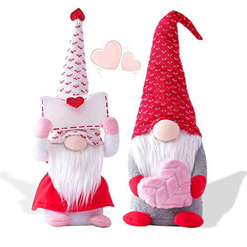 2Pcs Valentines Day Gnome Plush Doll Decorations, Cute Mr and Mrs Scandinavian Tomte Doll, Handmade Valentine's Gifts for Women/Men, Valentines Day Decorations Ornaments