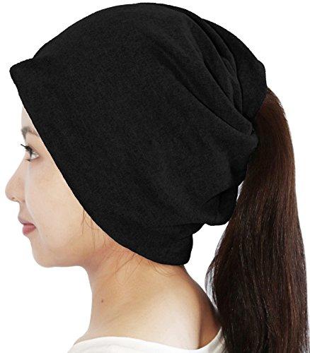 3Way ツイスト ターバン 伸縮素材 ループ マスク ニット帽 ネックウォーマー ヘアバンド バンダナ フェイスガード (BLACK)