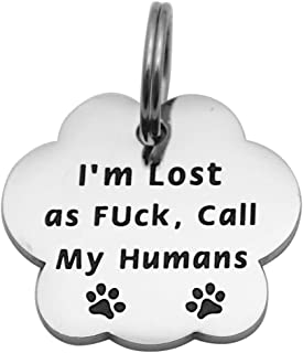 Beeshion Funny Pet Tag Stainless Steel Hand Stamped Pet Tags Funny Dog Tags Dog Collar Tag Pet ID Tag