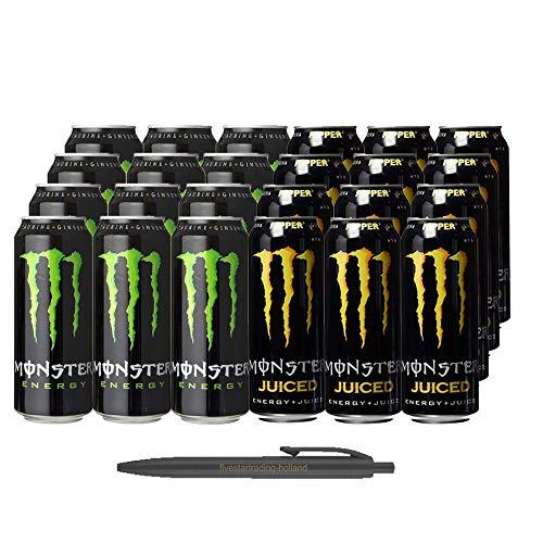 1x12 Monster Energy und 1x12 Monster Ripper Juiced (Insgesamt 24 Einweg-Dosen x 0,5 L) Inkl. Gratis FiveStar Kugelschreiber