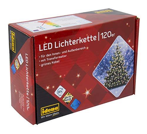 Idena 8325097 - LED Lichterkette mit 120 LED in warm weiß, mit 8 Stunden Timer Funktion, Innen und Außenbereich, für Partys, Weihnachten, Deko, Hochzeit, als Stimmungslicht, ca. 19,9 m