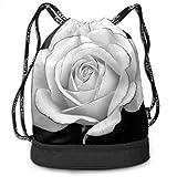 OKIJH Mochila Mochila de Ocio Mochila con cordón Mochila Multifuncional Bolsa de Gimnasio Gymsack Drawstring Bag Sackpack White Rose Sport Cinch Pack Simple Bundle Pocke Backpack For Men Women