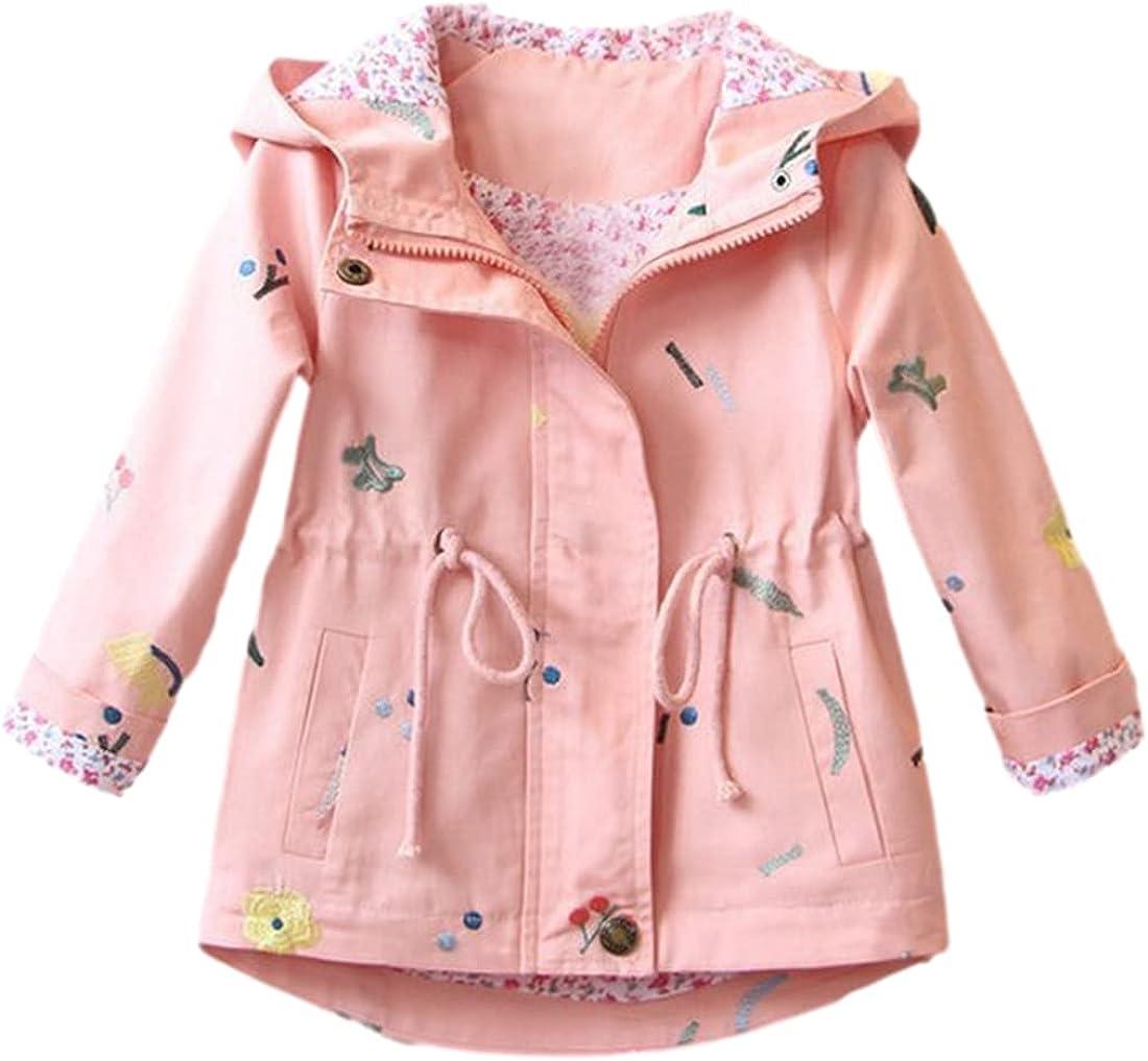 SeekMe Toddler Kids Grils Lovely Zipper Printing Hoodies Windbreak Coats with Pocket