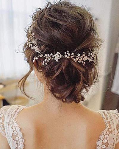 Simsly Brauthaarschmuck, Weinranken, silberfarben, mit Perlen, Haar-Accessoire, Brautschmuck, für Damen und Mädchen